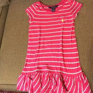 Ralph Lauren pink/lt blue striped cotton dress 4T